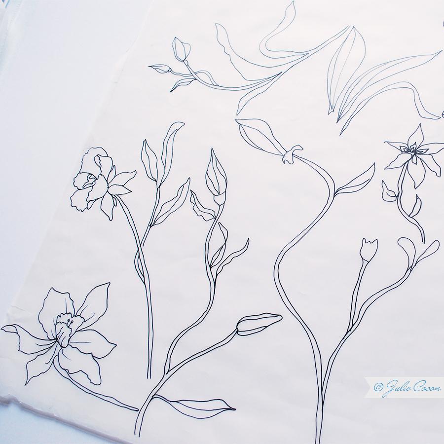 Blumenzeichnung, Vorskizzen Textildesign, Kunst, Grafiken, Julie Cocon