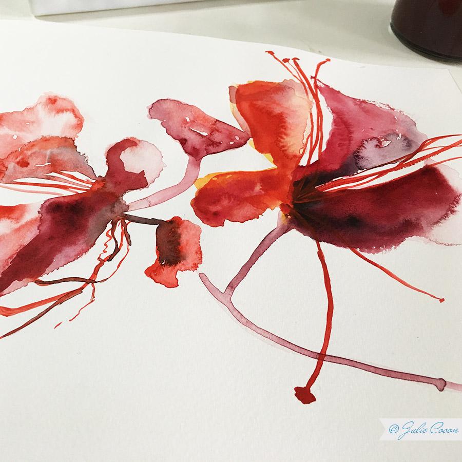 Aquarellmalerei, Blumenmuster, Textildesign, Stoffmuster, Grafikdesign, Kunst, Julie Cocon