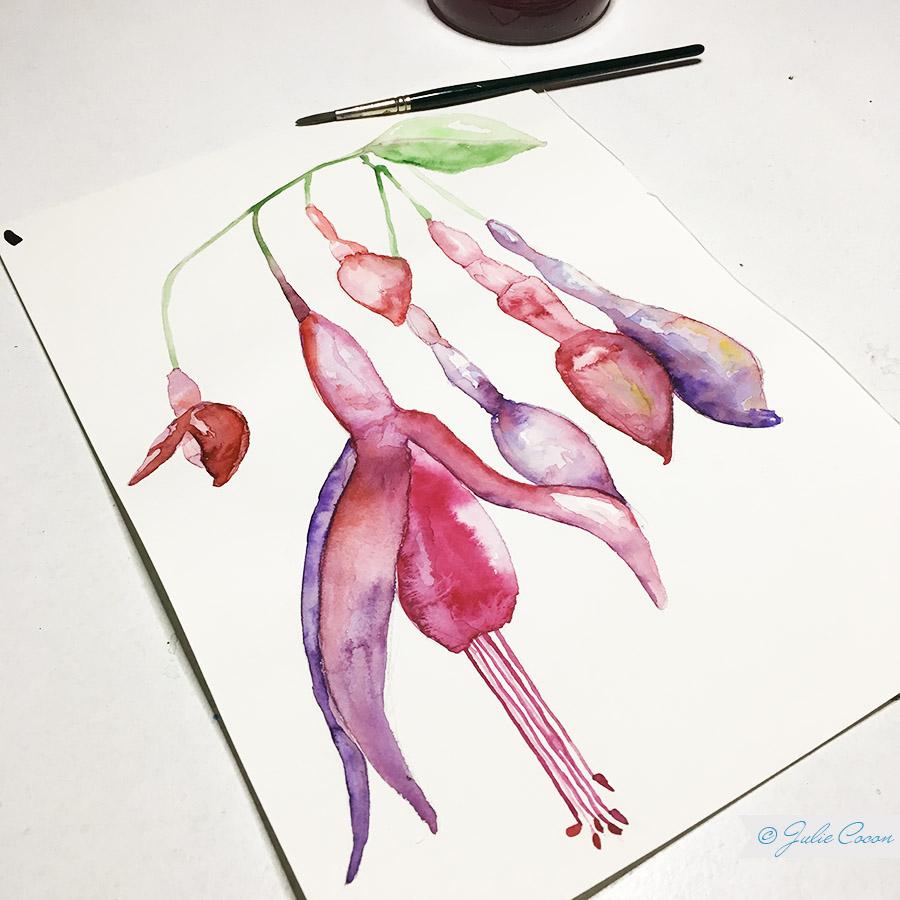 Aquarellmalerei, Blumenmuster, Textildesign, Grafikdesign, Julie Cocon