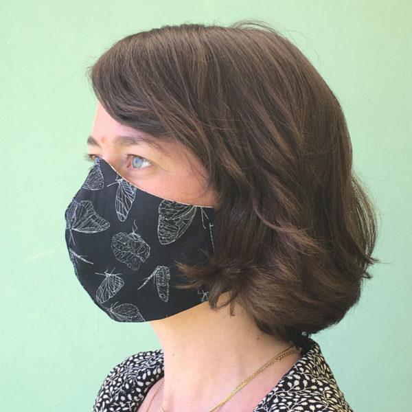 Stoffmaske-Bio-Baumwolle-Schmetterling2-schwarz