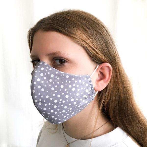 Stoffmaske-Bio-Baumwolle-graue-Punkte-Behelfsmaske, Bio-Stoffe,