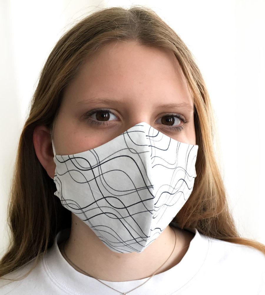 Stoffmaske-Bio-Baumwolle-quer-water-weiss, Bio-Stoffe, Behelfsmaske